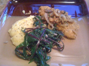 Polenta with chicken and greens