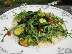 Israeli couscous with early summer veggies
