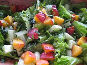 peach and cucumber salad
