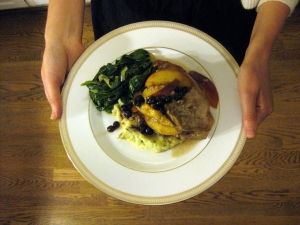 pork chops with huckleberries and peaches