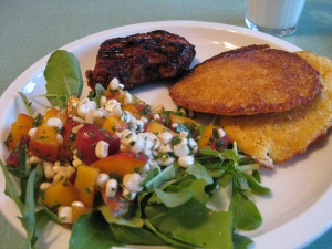 Corn and peach salad
