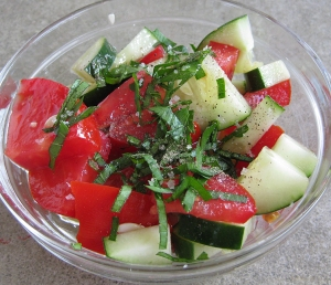 tomato, cucumber and basil salad